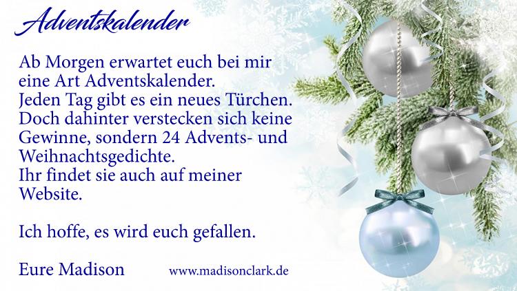 Adventskalender der etwas anderen Art - Advents- und Weihnachtsgedichte
